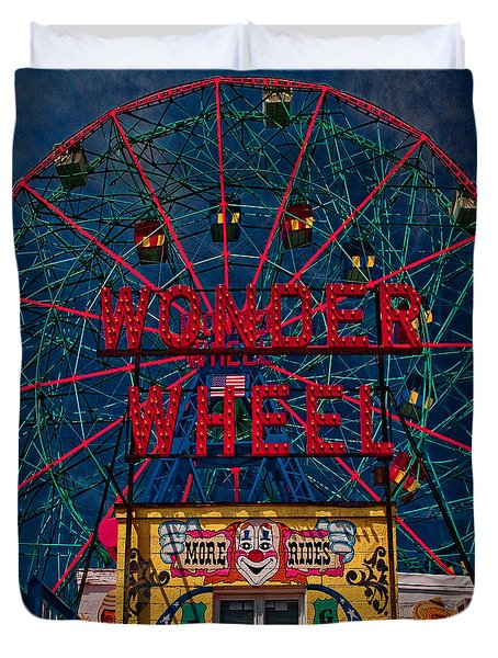 The Wonder Wheel At Luna Park Duvet Cover