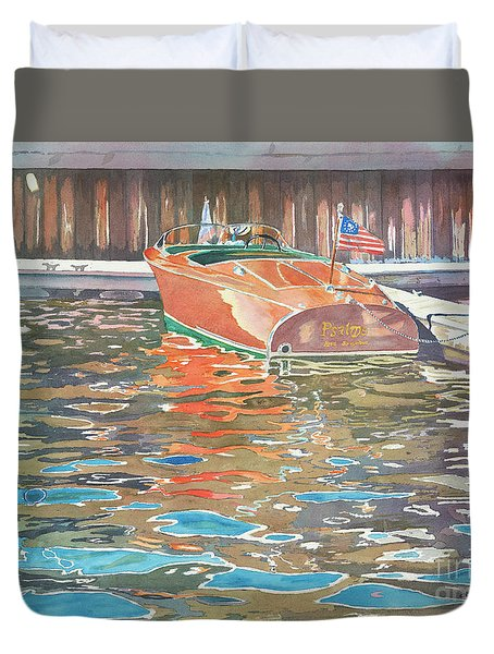 Duvet Cover featuring the painting The Wooden Boat by LeAnne Sowa