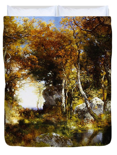 The Woodland Pool Duvet Cover by Thomas Moran