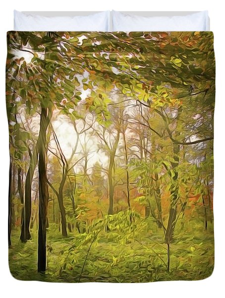 Duvet Cover featuring the painting The Woods by Harry Warrick