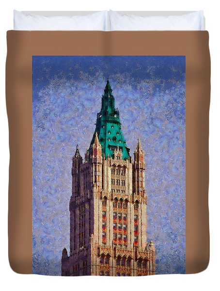 Duvet Cover featuring the painting The Wooldworth Building by Kai Saarto