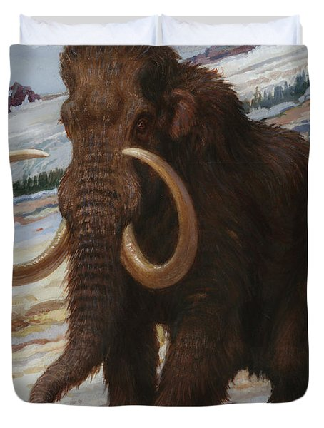 The Woolly Mammoth Is A Close Relative Duvet Cover by Charles R. Knight