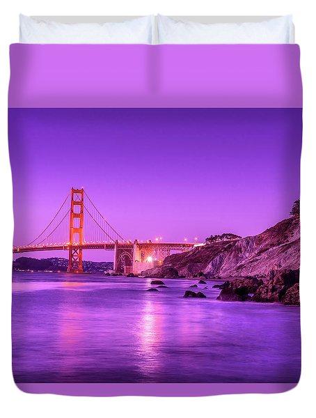 Golden Gate Bridge At Night Duvet Cover