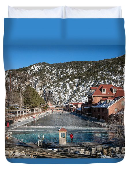 The World's Largest Hot-springs Pool At The Spa Of The Rockies In Glenwood Springs Duvet Cover by Carol M Highsmith