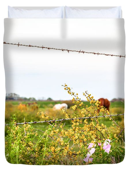 Duvet Cover featuring the photograph The Wrong Side Of The Fence by Melinda Ledsome