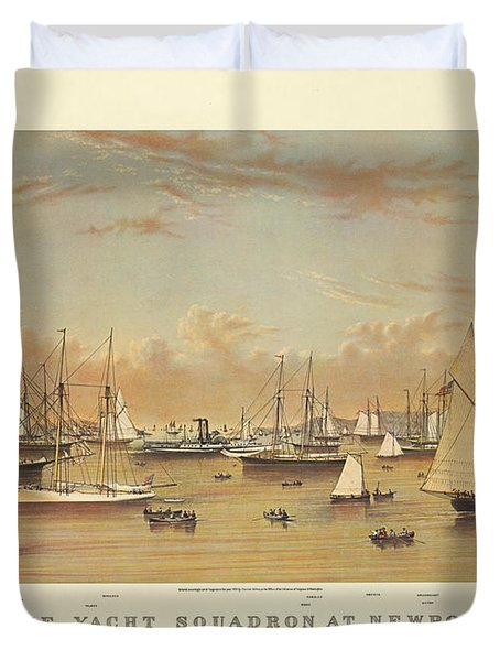The Yacht Squadron At Newport Duvet Cover