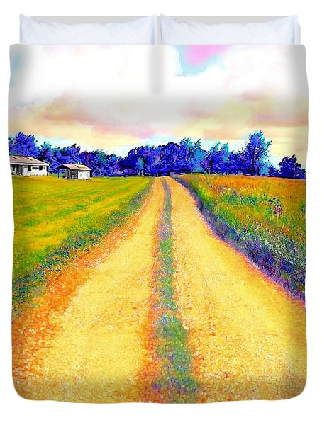 The Yellow Dirt Road Duvet Cover