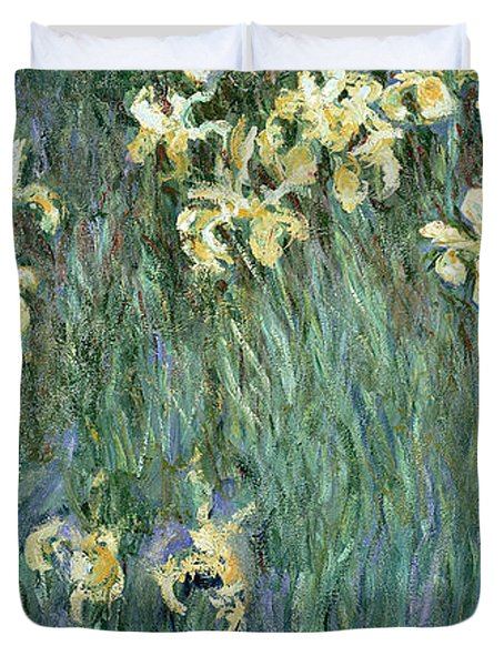 The Yellow Irises Duvet Cover by Claude Monet
