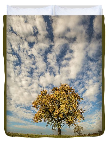 Duvet Cover featuring the photograph The Yellow Tree by Davorin Mance