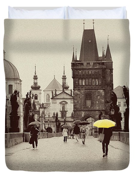 The Yellow Umbrella For Erin Duvet Cover