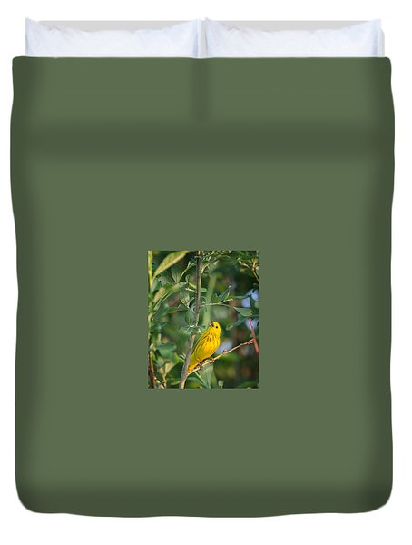 Duvet Cover featuring the photograph The Yellow Warbler by Bill Wakeley