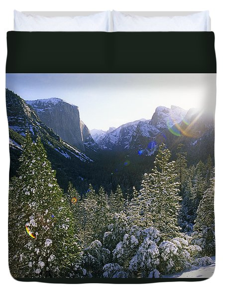 The Yosemite Valley In Winter Duvet Cover