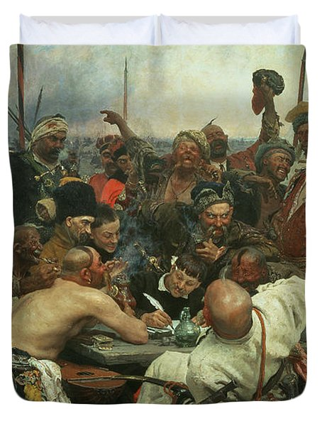 The Zaporozhye Cossacks Writing A Letter To The Turkish Sultan Duvet Cover