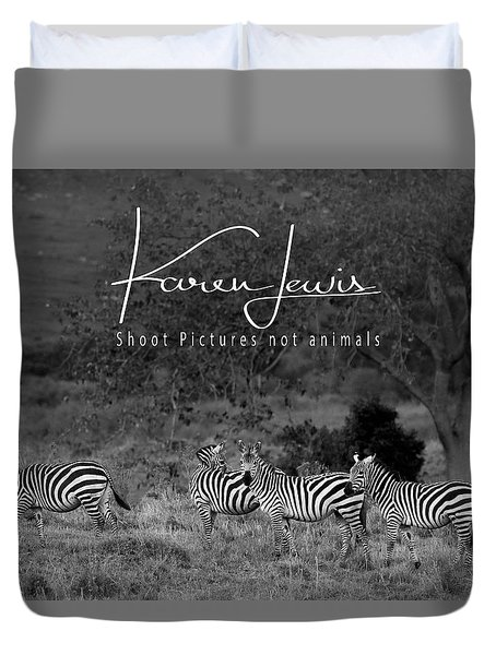 Duvet Cover featuring the photograph The Zebra Tree by Karen Lewis
