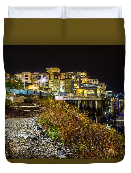 Duvet Cover featuring the photograph Thea Landing And Marina Lights by Rob Green