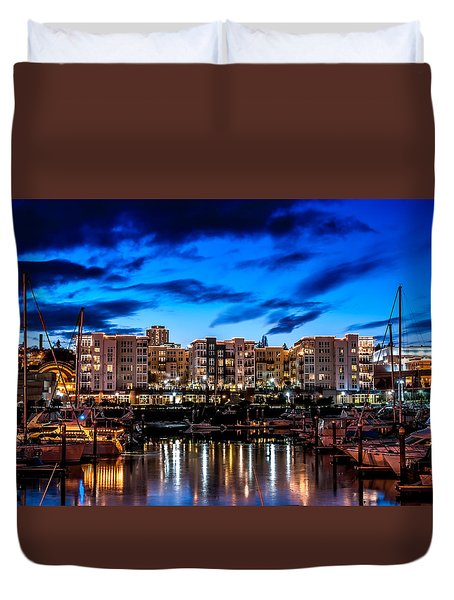 Thea's Landing And Waterfront At Night Duvet Cover