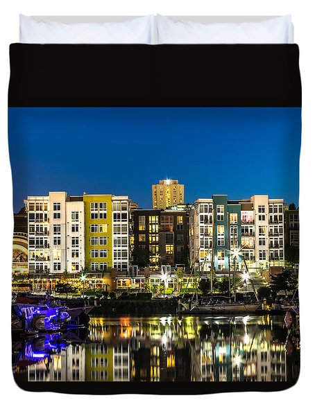 Duvet Cover featuring the photograph Thea's Landing On The Foss Waterway by Rob Green