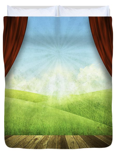 Theater Stage With Red Curtains And Nature Background  Duvet Cover by Setsiri Silapasuwanchai