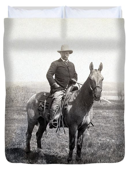 Theodore Roosevelt Horseback - C 1903 Duvet Cover by International  Images