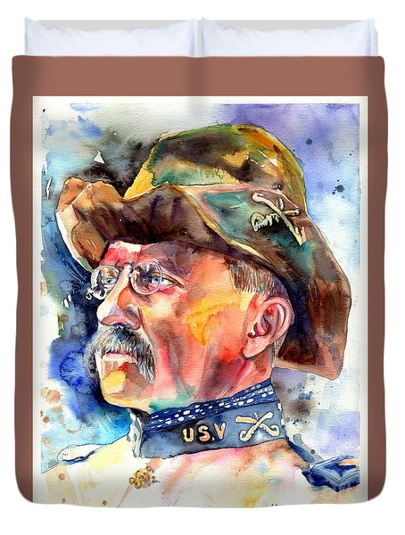 Theodore Roosevelt Painting Duvet Cover