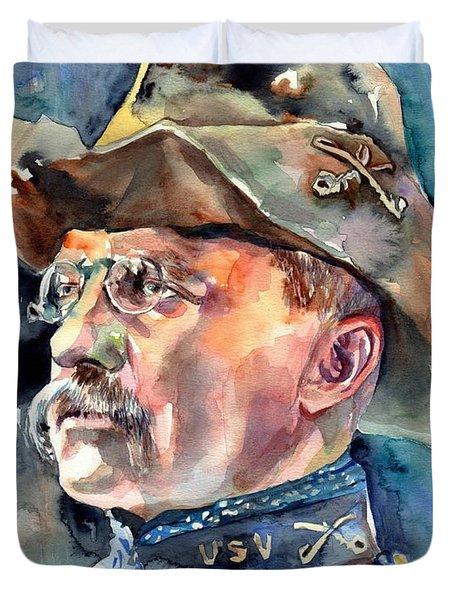 Theodore Roosevelt Portrait Watercolor Duvet Cover