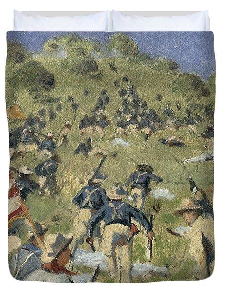 Theodore Roosevelt Taking The Saint Juan Heights Duvet Cover by Vasili Vasilievich Vereshchagin