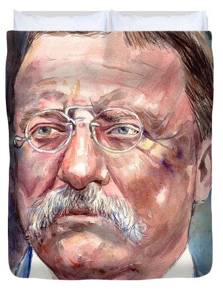 Theodore Roosevelt Watercolor Portrait Duvet Cover