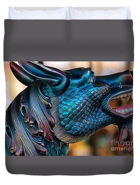 Duvet Cover featuring the photograph There Be Dragons  by John S