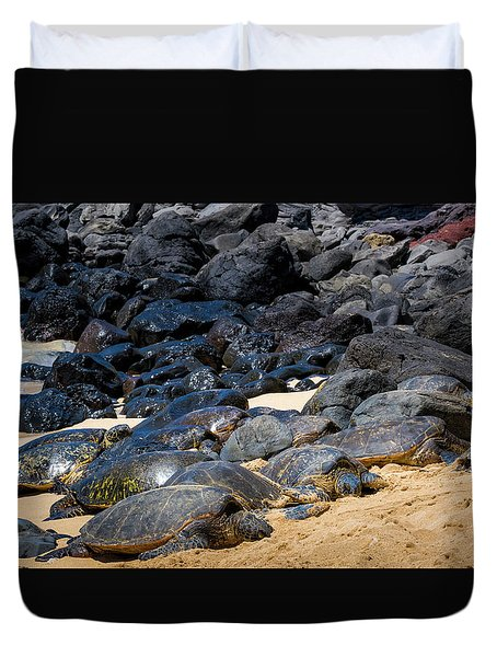 Duvet Cover featuring the photograph There Has Got To Be More Room On This Beach  by Jim Thompson