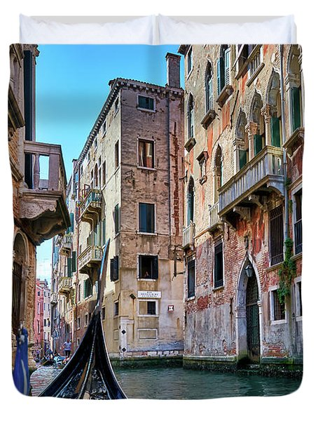 There Is Some Water On Your Door - Gondola Ride Surrounded By Abandoned Buildings In Venice, Italy Duvet Cover