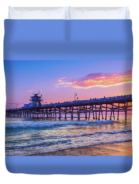 There Will Be Another One - San Clemente Pier Sunset Duvet Cover