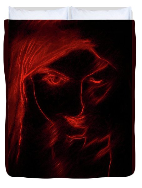 Duvet Cover featuring the digital art These Eyes by John Haldane