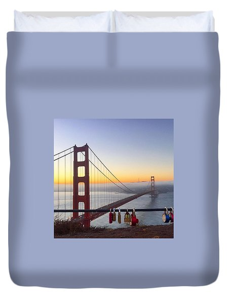 Golden Gate Bridge Padlocks  Duvet Cover