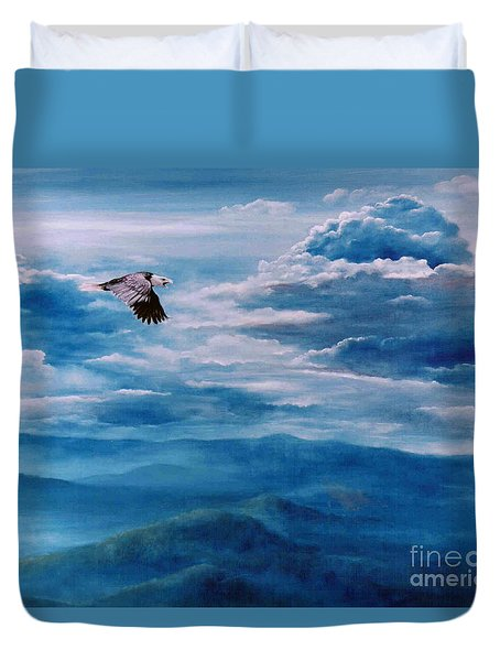 They Shall Mount Up On Wings Of Eagles Duvet Cover by Ann  Cockerill
