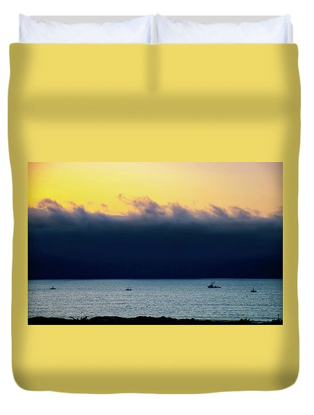 Duvet Cover featuring the photograph Thick Fog Blankets Sunset by Joseph Hollingsworth