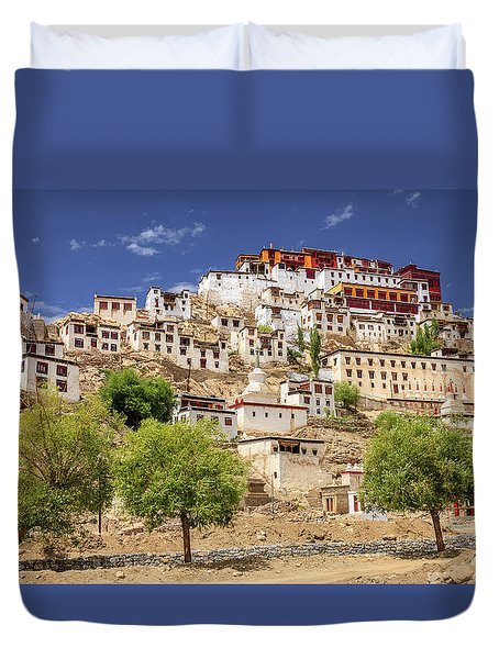 Duvet Cover featuring the photograph Thikse Monastery by Alexey Stiop