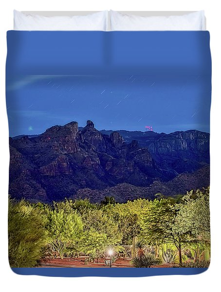 Duvet Cover featuring the photograph Thimble Peak At Night Textured by Dan McManus