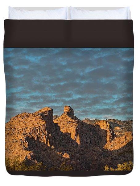 Duvet Cover featuring the photograph Thimble Peak During Golden Hour by Dan McManus