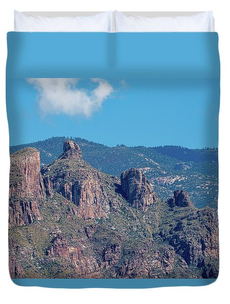 Duvet Cover featuring the photograph Thimble Peak With Summer Greenery by Dan McManus