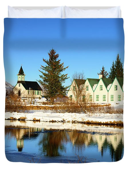 Duvet Cover featuring the photograph Thingvellir Iceland  by Matthias Hauser