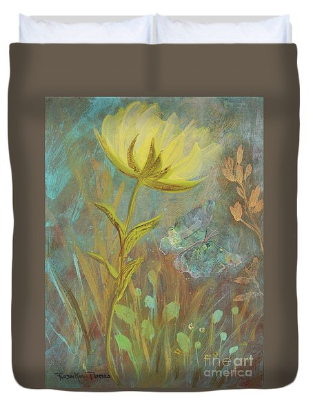 Duvet Cover featuring the painting Think On Good Things by Robin Maria Pedrero