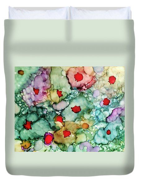 Duvet Cover featuring the painting Think Spring by Denise Tomasura
