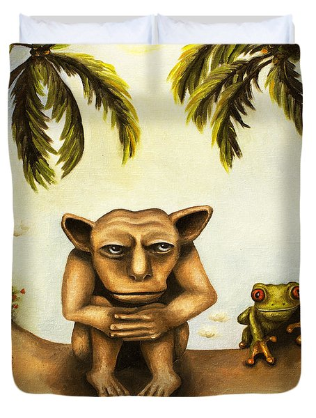 Thinking About Coconuts Duvet Cover by Leah Saulnier The Painting Maniac