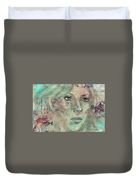 Duvet Cover featuring the drawing Thinking Back by P J Lewis