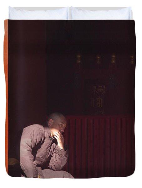Thinking Monk Duvet Cover by Sebastian Musial