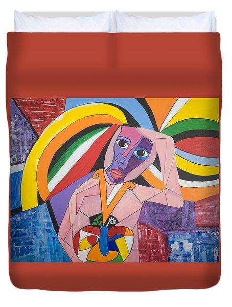 Duvet Cover featuring the painting Thinking Of Peace by Jose Rojas