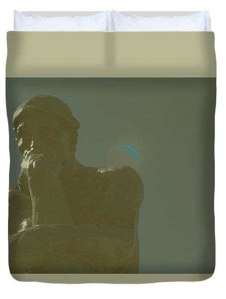 Duvet Cover featuring the painting Thinking Together by Carolina Liechtenstein