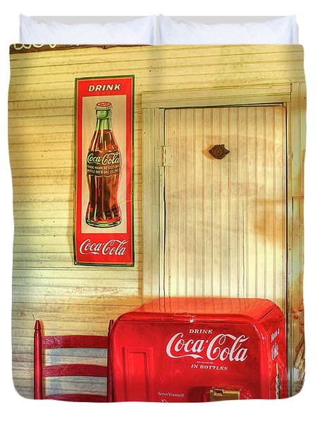 Thirst-quencher Old Coke Machine Duvet Cover by Reid Callaway