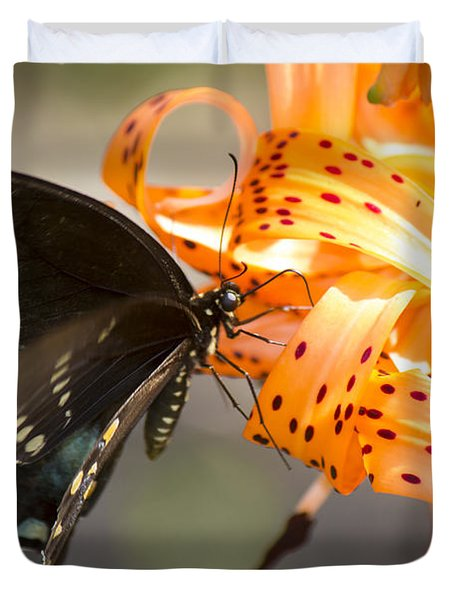 This Butterfly Loves Tiger Lilies Duvet Cover