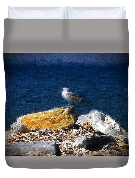 This Gull Has Flown Duvet Cover by John Freidenberg